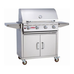 Lonestar - Lonestar Select 4-Burner SS LP Gas Barbecue Grill and Cart - The Lonestar Select cart is a 4-Burner Stainless Steel Gas Barbecue Grill. It has extra storage for a propane tank or other grilling necessities and its food prep areas on either side of the grill leave plenty of room to serve your favorite dishes.60,000 BTU's of total cooking power -4 Welded Stainless Steel Bar Burners -304 Stainless Steel Construction -Dual Lined Hood -Twin Lighting System -Piezo Igniters on every valve -Metal Knobs -Warming Rack -CSA Approved -Weight: 240 lbs.