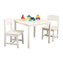 """KidKraft - Kidkraft Kids Room Decorative Aspen Table And Chair Furniture Set White - Every child needs their own workspace. Our Aspen Table and 2 Chair Set is the perfect place for coloring, playing board games, working on school projects or even enjoying a quick snack. Dimension: Table: 24""""x 24""""x 19""""H, Chair: 11.5""""x 11.75""""x 21.5"""" (seat: 12""""H)"""