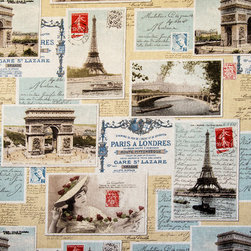 Paris postcard fabric French vintage letters documentary - A Paris postcard fabric with vintage French letters and stamps! A documentary print fabric with all the charm of Paris, France.