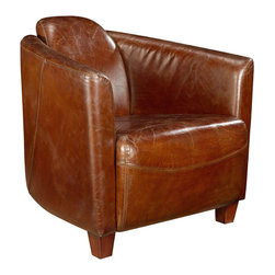 Moe's Home Collection - Moe's Home Salzburg Club Chair in Brown Leather - Classic style leather club chair. Great as accent chair.