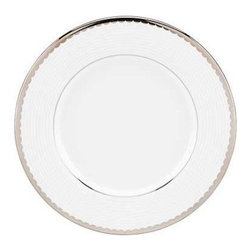 kate spade new york - kate spade new york Sugar Pointe Saucer - Contemporary and elegant our Sugar Pointe Saucer by kate spade new york is a sophisticated setup for your table. Delicate rows of raised white stripes on white bone china are finished with a platinum scalloped edge. Perfect for both formal and casual settings.