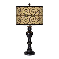 "Giclee Glow - Traditional Trellis Hearts Giclee Glow Black Bronze Table Lamp - Add a stylish and unique accent to your living space with this shapely table lamp which is topped off with our patented Giclee shade. Warm light shines through illuminating the pattern and creating a truly distinctive look. U.S. Patent # 7347593. Metal construction. Black bronze finish with soft gold edging. Custom-printed Trellis Hearts pattern Giclee Glow shade. Takes one maximum 150 watt bulb (not included). On/off rotary switch. 27 1/2"" high. Shade is 13"" wide and 10"" high. 6"" diameter base.  Metal construction.  Black bronze finish with soft gold edging.  Custom-printed Trellis Hearts pattern Giclee Glow shade.  Takes one maximum 150 watt bulb (not included).  On/off rotary switch.  27 1/2"" high.  Shade is 13"" wide 10"" high.  6"" diameter base."
