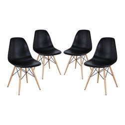 Pyramid Dining Side Chairs Set of 4 - These molded plastic chairs are both flexible and comfortable, with an exciting variety of base options. Suitable for indoors or out, appropriate for the living and dinning room, these versatile chairs are a great addition to any home decor statement.
