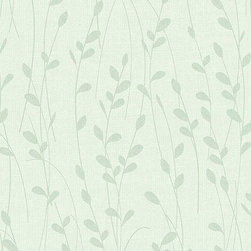 Warner - Nl58146 Little Willow Contemporay Leaves Wallpaper - NL58146 Little Willow from Natural Living by Kathy Ireland is a blue wallpaper with a blue leaf silhouette.