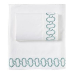 Serena & Lily - Savoy Links Embroidered Sheet Set Aqua - A beautiful banister we once spotted inspired this design, impeccably stitched on crisp cotton sateen. Modern aqua provides elegant contrast against pure white. If you 're looking for a luxurious basic, you 're in luck.