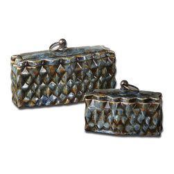 "Uttermost - Uttermost Neelab Ceramic Containers, Set of 2 19618 - These ceramic containers feature a distressed pale blue finish with reddish brown accents and caramel highlights. Removable lids. Small size: 7""W x 5""H x 3""D, Large size: 10""W x 6""H x 4""D."