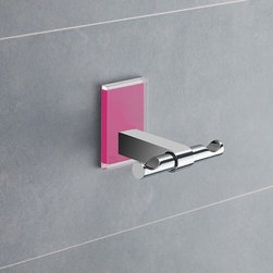 Gedy - Pink Mounting Polished Chrome Double Hook - Decorative double robe or towel hook made of brass with fuchsia mounting made of thermoplastic resins. Double hook made of chromed brass. Fuchsia mounting made of thermoplastic resins. From the Gedy Maine collection.