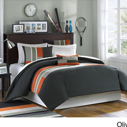 Mi-Zone - Mizone Circuit 4-piece Comforter Set - Bring an urban feel to your bedroom with this contemporary comforter set. This machine-washable set includes a comforter, two pillow shams, and an oblong pillow, and each piece has olive, khaki, and orange microfiber strips to enhance their style.