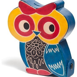 Sitara Collections - Cruelty-Free Shanti Leather Owl Piggy Bank - Think Outside the Piggy Bank Box with this adorable Leather Owl Bank That Stashes Coins While also Serving as a Colorful Room accent. Hand-Crafted of Cruelty-Free Leather (From animals Who Died Naturally), our Lovable Little Owl is a Vibrant Reminder That Saving Momey Doesn'T Have to Be Boring. Colors/Pattern: Owl Handcrafted in india Type: Piggy Bank Snap Closure om Side allows for Easy Removal of Coins Material: Cruelty-Free Leather Dimensioms: 5.25 inches Wide X 6 inches High X 1.5 inches Deep.