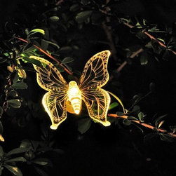 Solar LED butterfly - In the nighting ,some linghting butterfly flash in your garden,it is illusional scene.