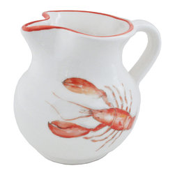 Abbiamo Tutto - Lobster Pitcher 64 oz. - Abbiamo Tutto's Lobster Pitcher is hand decorated and painted in Italy.  A lobster water color design is featured on each piece.