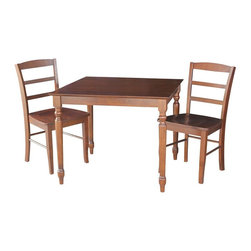 International Concepts - 3-Pc Square Dining Set - Includes dining table and two ladder-back chairs. Chairs with box seat construction. Table with butcher block top. Farmhouse styled turned legs. Made from solid wood. Espresso finish. Made in Vietnam. Minimal assembly required. Seat: 18 in. W x 16 in. D x 18.15 in. H. Chair: 18 in. W x 19 in. D x 34.25 in. H (36 lbs.). Table: 36 in. L x 36 in. W x 30 in. H (55 lbs.)