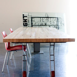 BOWLING ALLEY DINING TABLE - This re-purposed piece of bowling alley, was left as authentic as possible to leave the original character of the product, and custom built steel base components (I-beam and flat plate)