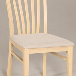 Chintaly Imports - Carmen Solid Beech Side Chair - Set of 2 - MDF, Beech Veneer, and Solid Beech. Slat Back Side Chair. Comfortable Seat. CA Fire Retardant Foam. Fully Assembled.