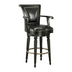 Howard Miller - Howard Miller Northport Bar Stool - 697009 - Shop for Stools from Hayneedle.com! Create a comfortable look and feel at your bar with the Howard Miller Northport Bar Stool. This striking bar stool is made of select hardwoods and veneers and has a heavily distressed Burnished Black finish that is protected by a durable clear coat.Settle in and relax against the black faux leather seat and back of this pub stool. At 30.5-inches high the seat is just the right size for most bars. This bar stool would look just as ruggedly handsome in an upscale lounge as at the home bar. The seat features a zero return swivel and has a metal footrest with an antiqued brass finish. The Northport Bar Stool has nail head trim on the curved back and legs and furniture glides on each leg so it's easy on your floors. Overall measurement: 25W x 24D x 46.5H inches. Please note: This item is not intended for commercial use. Warranty applies to residential use only.The Howard Miller StoryIncomparable workmanship unsurpassed quality and a quest for perfection - these were the cornerstones of the company Howard C. Miller founded back in 1926 at the age of 21. Even then Howard Miller understood the need to create products that would be steeped in quality and value.In 1989 Howard Miller began creating collectors' cabinets with the same attention to detail and craftsmanship inherent in their clock-making. Fashioned from glass and hardwoods Howard Miller cabinets are ideal for displaying heirlooms plates glassware and other collectibles.A highly respected brand Howard Miller maintains its popularity because of the company's commitment to quality. Every product manufactured at the company's sprawling facility in Zeeland Michigan undergoes stringent tests and exceeds industry standards to ensure a lifetime of enjoyment.