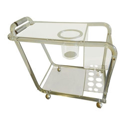 Vintage Lucite Bar Cart on Casters - This is an AMAZING lucite and acrylic bar cart from the 1960's. It is a super rare design including a built-in ice bucket and built-in bottle holders. It has a top and bottom shelf. The handles have a chrome banding wrap. It is extremely sturdy. There is some age on the chrome bolts that hold it together and there is some aging on the lucite in the bend of the handles. Very unnoticeable. Please see the photos for the details. So, when's the party?!