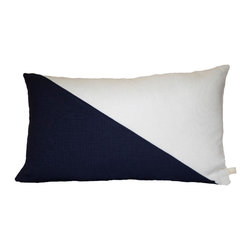 Geometric Color Block Pillow Cover | Indigo + White/Silver Metallic Linen | The - Geometric Color Block | Indigo + White/Silver Metallic Linen Pillow Cover