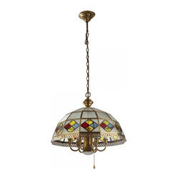 ParrotUncle - Decorative Colorful Glass Dome Shade Brass Dining Room Pendant Lighting - Antique brass lamps are gaining increasingly popularity due to its stunning look and the high levels of durability. This dome shaped brass flush mount ceiling light is constructed of solid brass and glass, and the amazing decorative design on the lampshade making it a stunning piece to add elegant and antique touch to your home décor.