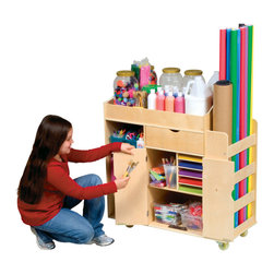 Guidecraft Ulitmate Art Cart - The Guidecraft Ultimate Art Cart is the pro version of kids' art supply storage. Look at all those drawers, cabinets, slots and more. It even has ball-bearing casters for easy moving.