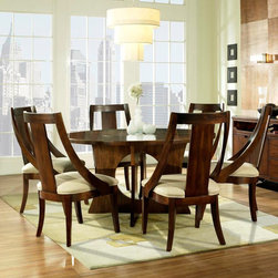 Somerton Dwelling - Somerton Dwelling Manhattan 7-piece Dining Set - Inspired by art deco and retro designs,this lovely seven-piece dining set boasts curved lines,a flush lazy Suzan for convenience,and a beautiful warm brown finish. Ideal for contemporary and modern spaces,this dining set seats six comfortably.