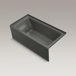 """KOHLER - KOHLER Archer(R) 60"""" x 30"""" alcove whirlpool with integral flange and right-hand - Taking its design cues from traditional Craftsman furniture, the Archer line of baths reveals beveled edges and curved bases for a clean, sophisticated style. This bath offers a low step-over height while allowing deep, comfortable soaking. Whirlpool jets relax away the day's tension as armrests and a lumbar arch gently support the natural curves of your body. KOHLER ExoCrylic(TM) is the next generation of bathroom acrylics, featuring a lighter weight for easier installation and 90% fewer VOCs produced during manufacturing."""