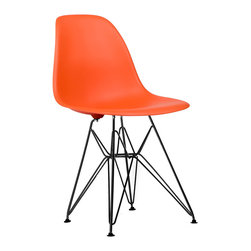 Black Eiffel Slope Chair in Orange - Our Eiffel Slope Chair is inspired by an iconic design of the 1950s and 1960s. The original was born out of technological advancements that allowed a chair to be constructed out of a single mold of fiberglass. With the original mold no longer in production, today's designers have improved this process even further, resulting in a comfortable, stylish, lightweight chair. Replacing fiberglass with more eco-friendly polypropylene, the current iteration is as innovative as it is timeless. The base is made of black chromed steel and resembles the structure of the famed Eiffel Tower. The black offers a twist on the standard Eiffel Slope Chair, which is one of our most popular designs. It features the same smooth polypropylene seat that contours to your body. It's one of our most versatile pieces, fitting in at the dinner table, conference table, or anywhere else you're looking to add some seating.