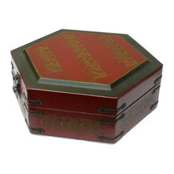"Golden Lotus - Hexagon Tibetan Character Red Leather Box - Dimensions:   w8.5""x  d8.5""x  h3.5"""