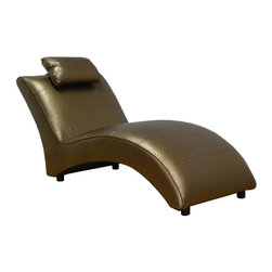 Chelsea Home - Hardwood Chaise Lounge - Seating comfort: Medium. Seat cushion attached. Seat back cushion attached. Seat cushion is not reversible. No sag sinuous spring system used. Dacron wrapped 1.5 density foam cushions. Made from PVC. Ostrich penny color. Made in USA. No assembly required. 64 in. L x 29 in. W x 30 in. H (75 lbs.)