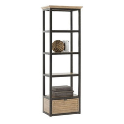 Lexington - Lexington Monterey Sands Camino Real Media Tower - Form and function are definitely attributes of this tower. The bottom drawer is ideal for keeping things out of site, and the three inset wood shelves are ideal for display or books. The removable crown that is ideal when bunching or perfect for a single.