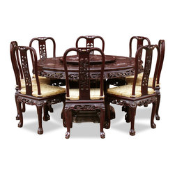 China Furniture and Arts - 60in Rosewood Queen Ann Pearl Inlay Motif Round Dining Table with 8 Chairs - The style of this majestic solid rosewood round dining table set is decorated with exquisitely hand-carved imperial dragon and pearl inlaid floral designs on the top of the table and chairs. Completely hand crafted with traditional joinery technique by artisans in China. It is ideal for a loving family atmosphere or treating your guests with a banquet in your own home. A removable Lazy-Susan enables numerous dishes to be passed around conveniently. Hand applied dark cherry finish enhances the extraordinary beauty and opulence of solid rosewood.