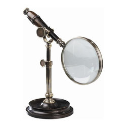 "Authentic Models - Authentic Models Magnifier With Stand - Magnify those hard to read words with our high quality Authentic Models magnifier. Made with a solid hardwood base and solid brass stand, this piece will surely give you its best in elegance. This can also make an eye catching centerpiece of your home or office.  * Dimensions: Height 8"" - Length: 10"" - Width: 5""."