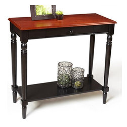 Convenience Concepts - French Country Foyer Table in Black and Cherr - Pull out drawer and lower shelf. Solid rubber wood legs. Top, apron and shelf are made from MDF with oak veneer. Limited warranty. Assembly required. 31.5 in. W x 14 in. D x 30 in. H (33 lbs.)Matches other items in French Country Collection.
