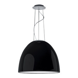 """Artemide - Artemide Nur Mini Gloss pendant light - The Nur Mini Gloss pendant light fromArtemide has been designed by Ernesto Gismondi 2009. This suspension mounted luminaire is great for direct halogen or fluorescent lighting with subtle indirect lighting The Nur Mini Gloss is composed of highly polished and smooth domed diffuser in spun aluminum, available in glossy white or glossy black. This fixture is also equipped with sanded glass at top of dome and an acrylic diffuser at bottom to shield the lamps. Ceiling canopy in steel with thermoplastic cover and suspension cables in stainless steel. The Nur Mini Gloss pendant light exhibits a sleek, innovative and unique design, along with quality craftsmanship, that is sure to brilliantly illuminate any modern environment.  Product Description:  The Nur Mini Gloss pendant light fromArtemide has been designed by Ernesto Gismondi 2009. This suspension mounted luminaire is great for direct halogen or fluorescent lighting with subtle indirect lighting The Nur Mini Gloss is composed of highly polished and smooth domed diffuser in spun aluminum, available in glossy white or glossy black. This fixture is also equipped with sanded glass at top of dome and an acrylic diffuser at bottom to shield the lamps. Ceiling canopy in steel with thermoplastic cover and suspension cables in stainless steel. The Nur Mini Gloss pendant light exhibits a sleek, innovative and unique design, along with quality craftsmanship, that is sure to brilliantly illuminate any modern environment.  Details:      Manufacturer:    Artemide      Designer:    Ernesto Gismondi 2009      Made in:    Italy      Dimensions:    Overall Height: 78.75"""" (200 cm) XDiffuser Height: 11.25"""" (28.5 cm) X Diameter: 14 3/16"""" (36 cm)      Light bulb:    1 X 150W halogen or 1 X 42W fluorescent      Material:    Spun Aluminum, Glass, Acrylic, Stainless Steel"""