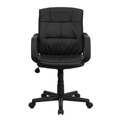 Flash Furniture - Flash Furniture Mid Back Office Chair in Black with Arms - Flash Furniture - Office Chairs - GO228SBKLEAGG - Affordable leather computer chair will provide you with the comfort needed for browsing the internet. The mid-back design makes it a perfect desk chair especially for smaller work spaces but still doesn't compromise on its appeal and features. [GO-228S-BK-LEA-GG]