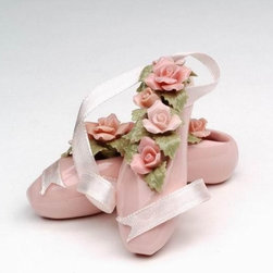 CG - 2 Inch Pink Ceramic Ballet Slippers Adorned with Roses and Leaves - This gorgeous 2 Inch Pink Ceramic Ballet Slippers Adorned with Roses and Leaves has the finest details and highest quality you will find anywhere! 2 Inch Pink Ceramic Ballet Slippers Adorned with Roses and Leaves is truly remarkable.