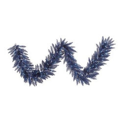 Vickerman 9 ft. Dark Blue Fir Pre-lit Garland - Perfect for fireplace mantles, stairway railings, or porches, the Vickerman 9 ft. Dark Blue Fir Pre-lit Garland makes a lovely addition to your holiday decorations. The PVC foliage is pre-lit with 100 dark blue mini lights and wire. Dimensions: 108L inches.About VickermanThis product is proudly made by Vickerman, a leader in high quality holiday decor. Founded in 1940, the Vickerman Company has established itself as an innovative company dedicated to exceeding the expectations of their customers. With a wide variety of remarkably realistic looking foliage, greenery and beautiful trees, Vickerman is a name you can trust for helping you create beloved holiday memories year after year.