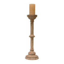 Olivos Candlestick - A simple statement in sleek hand-turned birch wood, the Olivos Candlestick stands over two feet tall: a spare, narrow column with one decorative embellishment at the center and a wide multi-ringed base, supporting a cup for a candle. The lean and elegant candlestick, with a many-layered antiqued finish suggesting colonial heirloom provenance, provides a well-crafted vertical element to arrangements, sideboards, or sofa tables.