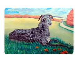 Caroline's Treasures - Scottish Deerhound  Kitchen Or Bath Mat 20X30 - Kitchen or Bath COMFORT FLOOR MAT This mat is 20 inch by 30 inch.  Comfort Mat / Carpet / Rug that is Made and Printed in the USA. A foam cushion is attached to the bottom of the mat for comfort when standing. The mat has been permenantly dyed for moderate traffic. Durable and fade resistant. The back of the mat is rubber backed to keep the mat from slipping on a smooth floor. Use pressure and water from garden hose or power washer to clean the mat.  Vacuuming only with the hard wood floor setting, as to not pull up the knap of the felt.   Avoid soap or cleaner that produces suds when cleaning.  It will be difficult to get the suds out of the mat.