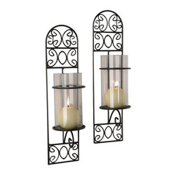 Danya B - Madeira Candle Sconce - Set of 2 - Set of 2. Wall mounted. Hurricanes with glass inserts. Made from iron. 4 in. W x 4 in. D x 16 in. H (2.32 lbs.)