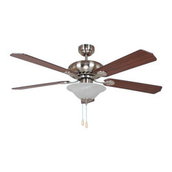 YOSEMITE HOME DECOR - 52 Inch Ceiling Fan in Bright Brush Nickel Finish with 72 inch lead wire - - Ceiling Fan with Light Kit