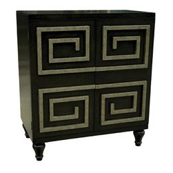 Ming Cabinet Worlds Away Storage Entertainment - I just love the detailing on the front of this medium sized cabinet. It has Asian style and also recalls a Greek-key pattern a bit. Either way, it's a wonderful regency piece with a bit of retro appeal. It's perfect for a media cabinet or nightstand.