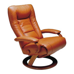 Lafer - Lafer Ella Reclining Chair, Strawberry - Ella leather reclining chair by Lafer features backrest and footrest activation to enable you to adjust according to your head position – ideal for office meetings and conference rooms.