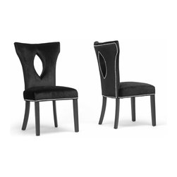 Baxton Studio - Baxton Studio DeJarnette Black Velveteen Dining Chair (Set of 2) - A contemporary style not to be missed, the DeJarnette Dining Chair is a posh seat for any trendy dining area. This set of two contemporary dining chair's made in China with a wooden frame, black lacquer-coated wooden legs, and its trademark black velveteen upholstery. Finishing off the designer dining chair is polyurethane foam cushioning and silver nail head trim along select edges. The DeJarnette Chair requires assembly and spot cleaning as necessary.