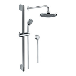 Gedy - Chrome Shower System with Hand Shower and Sliding Rail, Showerhead, and Water Co - Made in brass and finished in chrome.