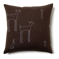 Woodland Pillow, Brown - This cozy pillow is crafted from hemp and natural cotton, and it's filled with soft down feathers. I love that it's decorated with adorable woodland creature silhouette drawings.