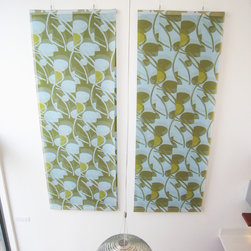 Bubbles - Staging by 'Stage to Sell'.  Artwork by Tami Wedekind Diptych layered textile patterned wall hanging. Each panel is 4' x 11'