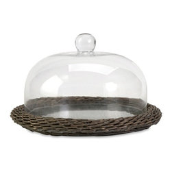 """IMAX - Olivia Glass Cloche w/ Willow Base - The Olivia glass cloche adds interest to any area! Willow is finished in a warm grey stain, making this neutral piece easily customizable with filler for a personalized look! Item Dimensions: (8.25""""h x 14""""w x 14"""")"""