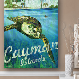 Patrick Reid O'Brien's My Town Art - Cayman Islands Sea Turtle Wall Art - Vivid color and an elegant aquatic scene enliven your décor when you hang this piece that celebrates the natural beauty of a popular coastal locale.   Print: recycled post-consumer paper Canvas: canvas / wood Canvas: ready to hang Made in the USA