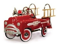 American Retro - Classic Pedal Fire Truck Deluxe Ride-On Toy AR-2003 - Deluxe Fire Truck Classic Pedal Ride-On Toy