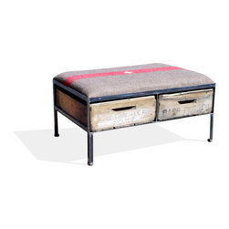 Vintage Crate Ottoman - 2 Drawer, Swiss Military - These amazing handmade ottomans are made locally from vintage fruit crates, and are upholstered with different vintage fabrics. Each are unique and crate graphics may vary. They make a great addition to any room.